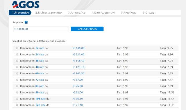 Finanziamenti per vacanze da 5.000 euro di Agos, calcolo rata ed interessi:
