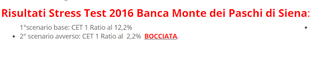 risultati stress test su Monte dei Paschi di Siena