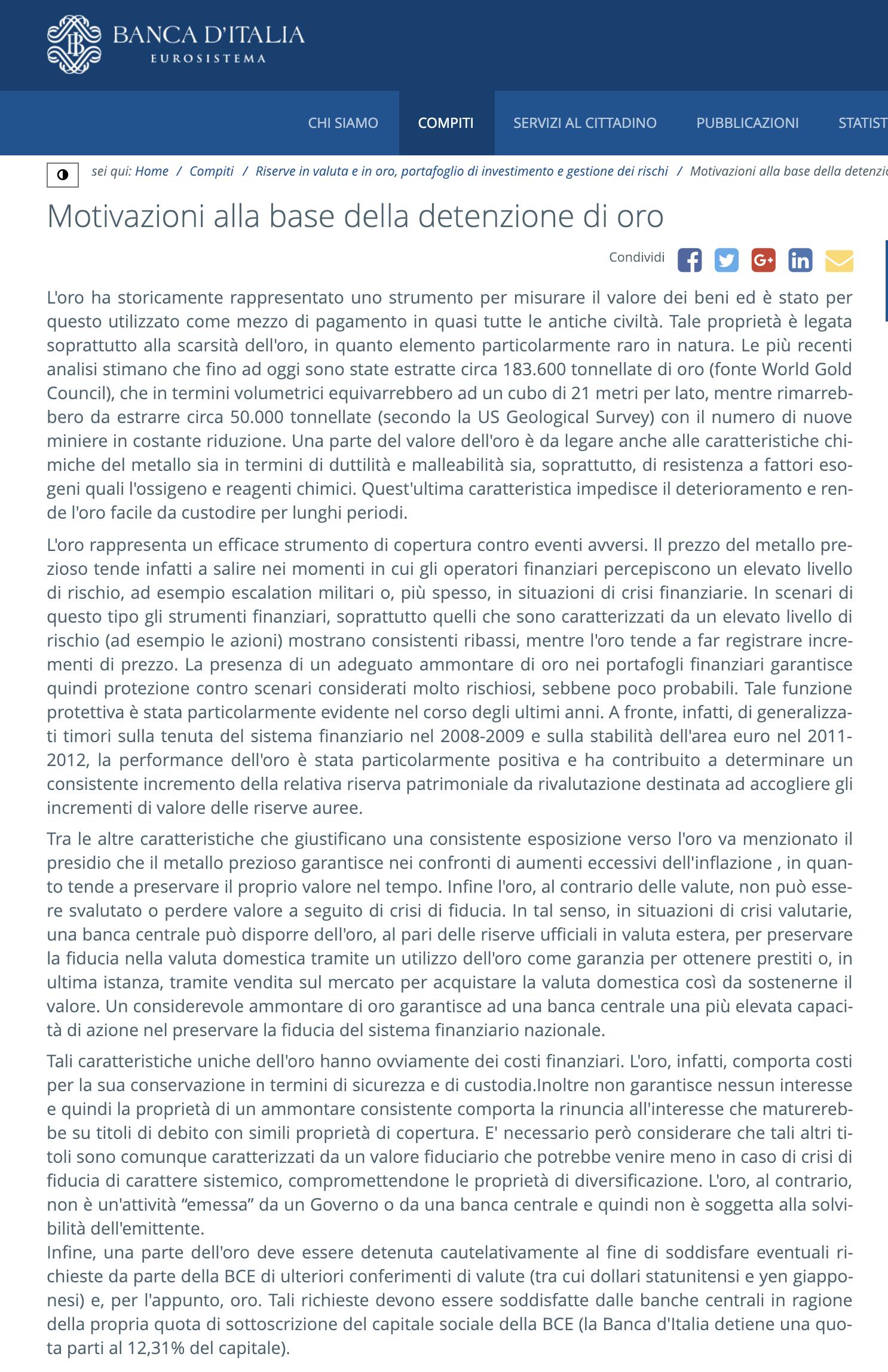 lingotti d'oro : riserve auree banca d'italia