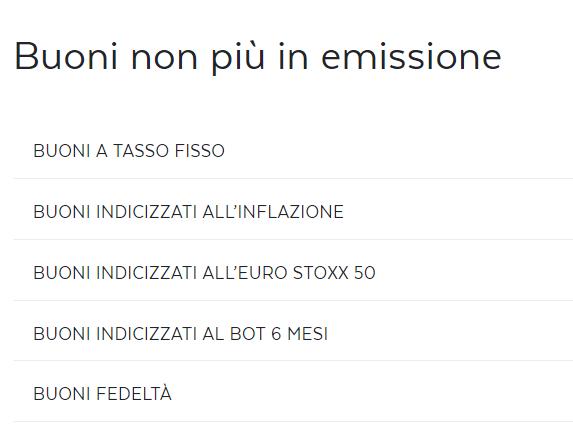 Buoni Fruttiferi Postali che non sono più in emissione: