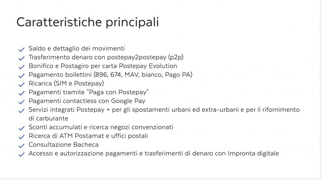 app postepay caratteristiche principali