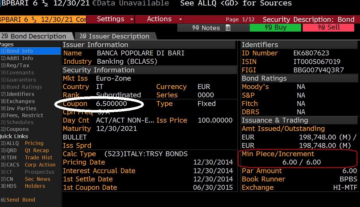 Le obbligazioni della Banca di Bari rendevano il 6,5%